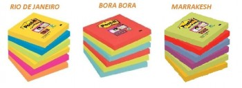 NOTAS ADHESIVAS MARCA POST-IT  76X76 COLORES VIVOS 6 BLOCS SURTIDOS