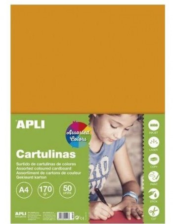 CARTULINA 170G A-4 50H COLORES SURTIDOS INTENSOS APLI
