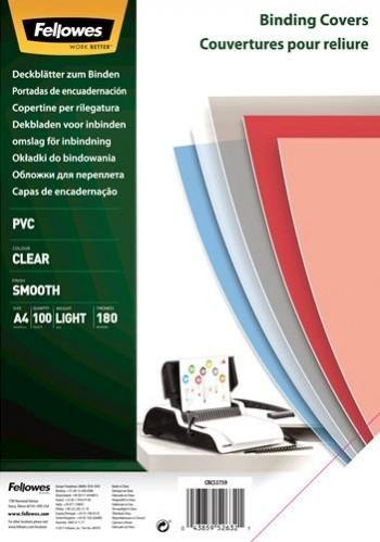 CUBIERTAS FELLOWES PVC 180 MICRAS TRANSPARENTE ENVASE DE 100
