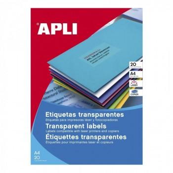 ETIQUETAS TRANSPARENTES 210X297 LASER/COPY 20 HOJAS A4