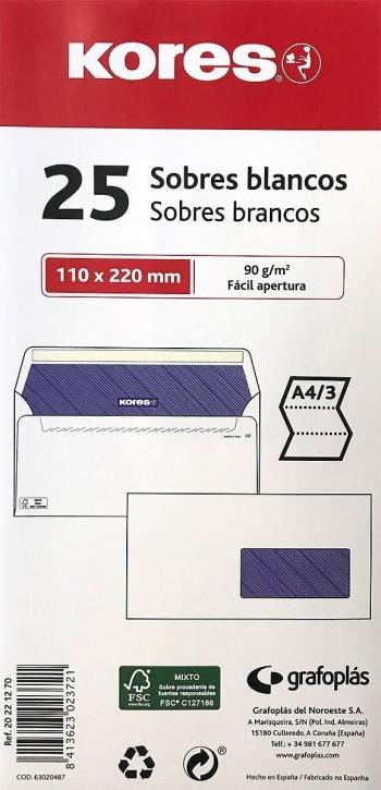 PAQUETE DE 25 SOBRES KORES BLANCOS VENTANA DERECHA 110X220