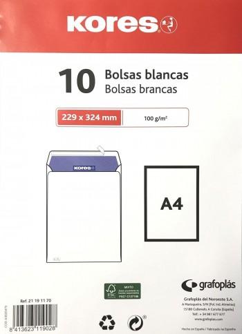 PAQUETE DE 10 BOLSAS KORES BLANCO 229X324
