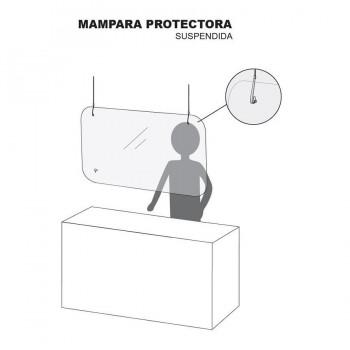 MAMPARA COLGANTE 60X90 CM CON CABLE ACERO