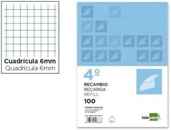 RECAMBIO LIDERPAPEL CUARTO 100 HOJAS 60G/M2 PAUTA 5 2,5MM CON MARGEN 6 TALADROS