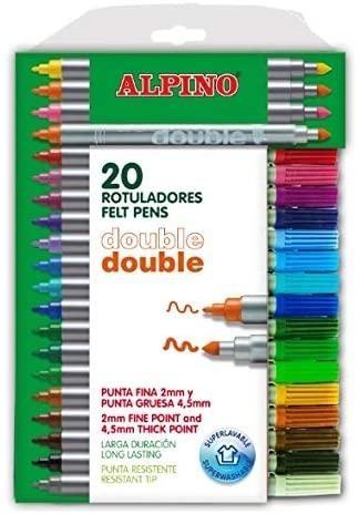 ESTUCHE 20 ROTULADORES DOBLE PUNTA ALPINO