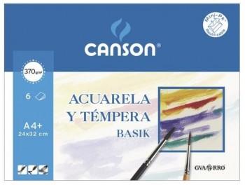 LAMINAS DE DIBUJO PARA ACUARELA Y TEMPERA PACK DE 6 HOJAS TAMAÑO A4+ 370 GR