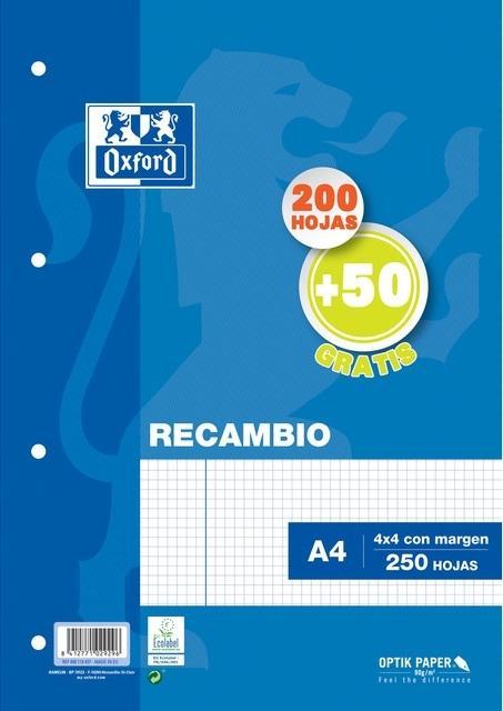 (21T) RECAMBIO OXFORD TAPA BLANDA TAMAÑO A-4 200+50 HOJAS 4X4 90GRS COLOR AZUL