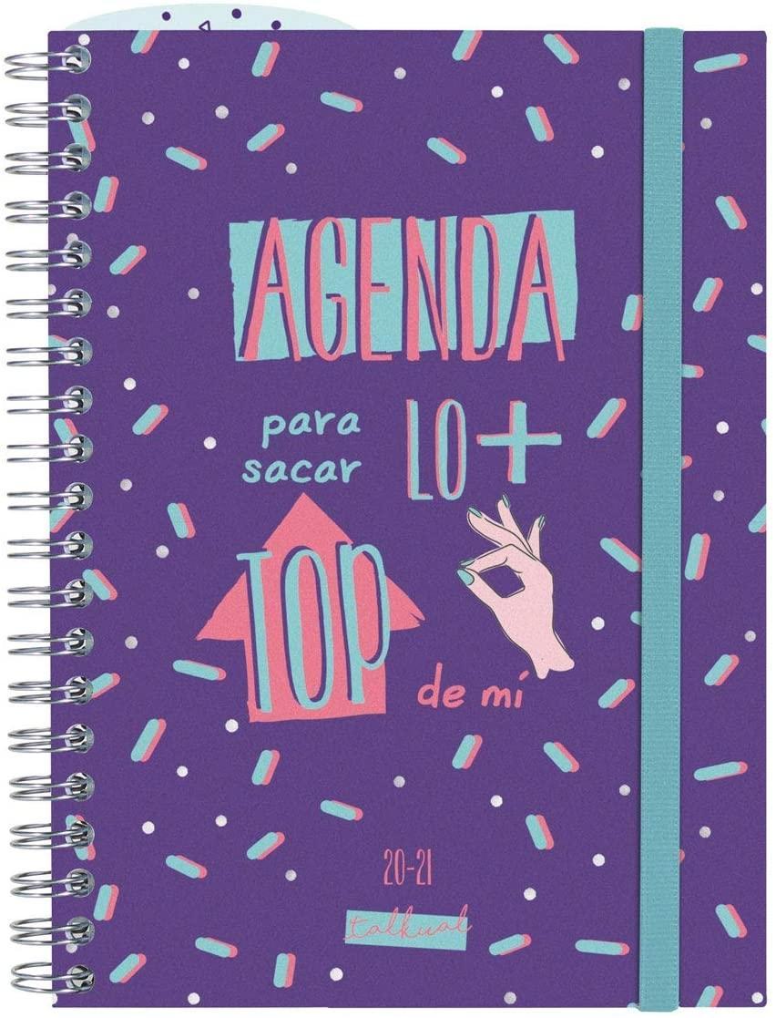 AGENDA ESCOLAR 20-21 120X168 SV ESPIRAL TOP MORADO TALKUAL FINOCAM