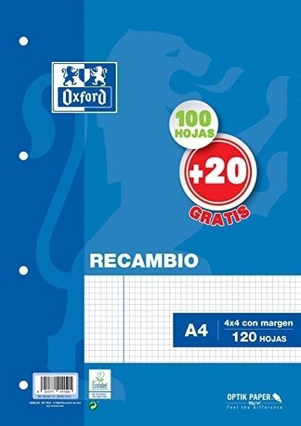 (21E) RECAMBIO OXFORD TAPA BLANDA TAMAÑO A-4 100+20 HOJA
