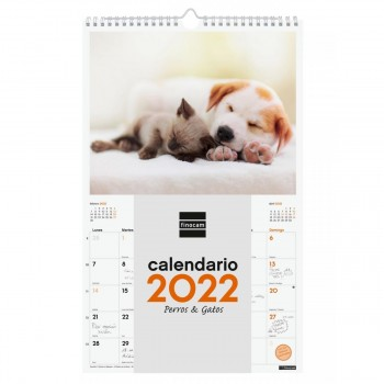 CALENDARIO DE PARED 2022 FINOCAM 25X40 PERROS GAT