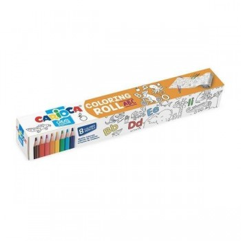ROLLO DE PAPEL ADHESIVO PARA COLOREAR + 8 LAPICES DE COLORES