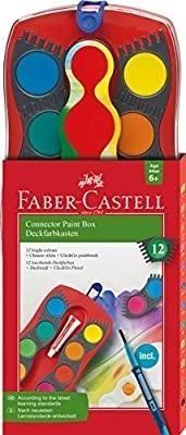 ESTUCHE 12 PASTILLAS ACUARELA ROJO FABER CASTELL