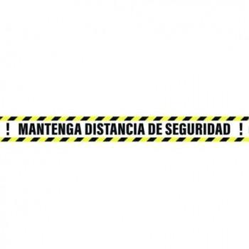 SEÑAL 100X10 CINTA MANTEN DISTANCIA DE SEGURIDAD AMARILLO/NEGRO
