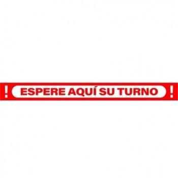 SEÑAL 100X10 CINTA ESPERE AQUÍ SU TURNO ROJO