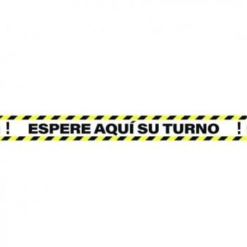 SEÑAL 100X10 CINTA ESPERE AQUÍ SU TURNO AMARILLO/NEGRO