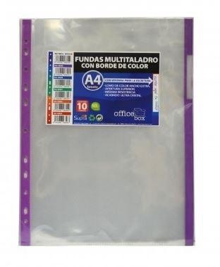 FUNDAS MULTITALADRO OFFICE BOX A-4 MORADO PACK 10 UNIDADES