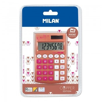 MILAN BLÍSTER CALCULADORA 8 DÍGITOS POCKET COPPER ROSA