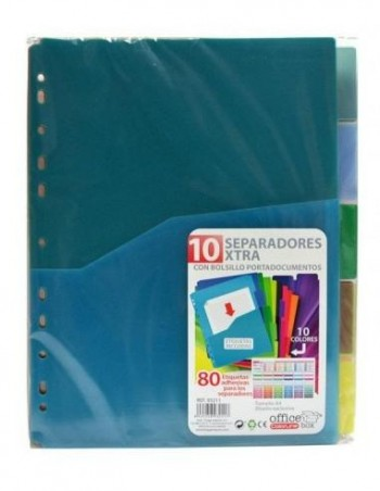 SET DE 10 SEPARADORES EXTRA CON BOLSILLO COLORLINE