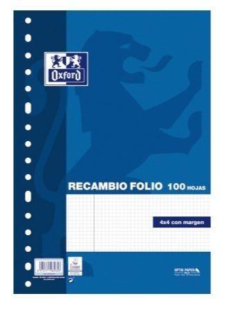 RECAMBIO OXFORD TAMAÑO FOLIO CUADRICULA 4X4 90 GRAMOS 100 HOJAS
