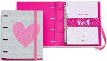 CARPETA RINGBOOK TAPA EXTRADURA TAMAÑO A4 100 HOJAS 5X5 LOVE ARP