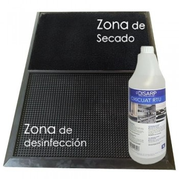 PACK ALFOMBRA - ANTIBACTERIANA  DESINFECTANTE + BOTELLA 1 L GEL